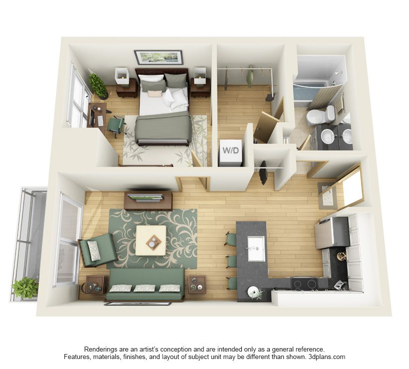 Apartment Unit: One Bedroom Floor Plans In 2019