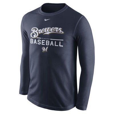 Men S Milwaukee Brewers Nike Navy Practice Long Sleeve T Shirt Long Sleeve Tshirt Men Detroit Tigers Tiger T Shirt