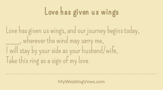 Love Has Given Us Wings Wedding Vows That Make You Cry Ring Exchange Vows Wedding Ceremony Rings