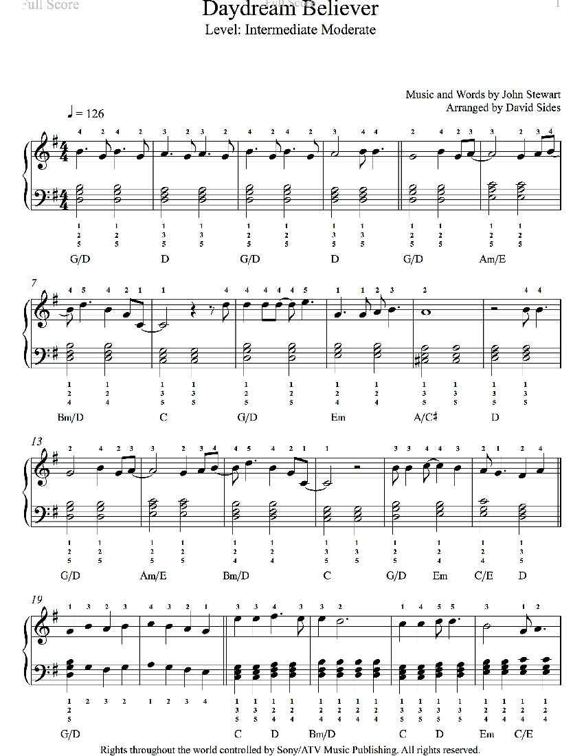 Daydream Believer By The Monkees Piano Sheet Music Intermediate