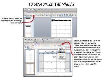 Editable Calendar Template For Teacher Binder  Binder Teacher
