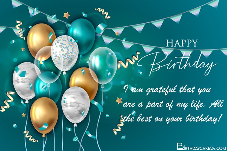 Customize Birthday Card With Name Wishes Online Birthday Card With Name Birthday Balloons Happy Birthday Balloons