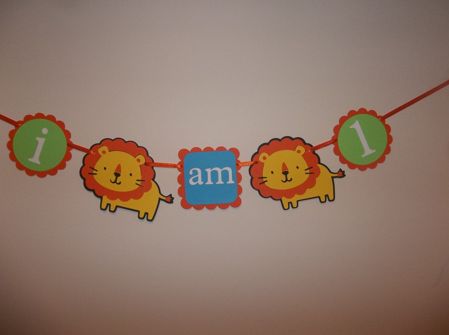 Lion Birthday High Chair Banner I Am 1 Boy Birthday First