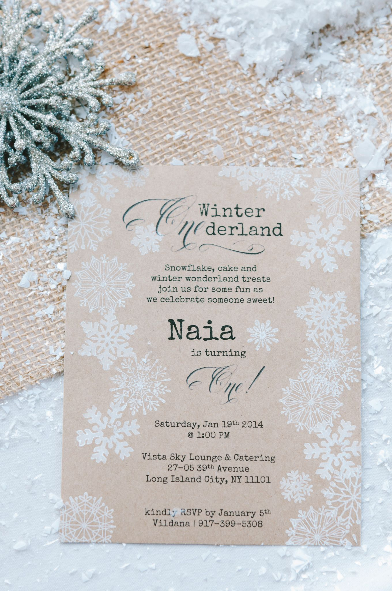 Winter Wonderland 1st Birthday Party Snowflake Invitationssnowflake