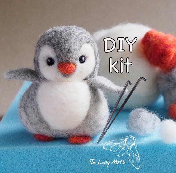 PENGUIN needle felting kit by The Lady Moth - needle felt your own baby penguin - diy kit - beginners and improvers #needlefelting