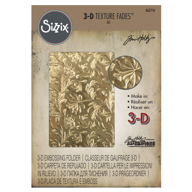 *NEW for 2018* Sizzix Tim Holtz  Botanical 3-D Texture Fades Embossing Folder