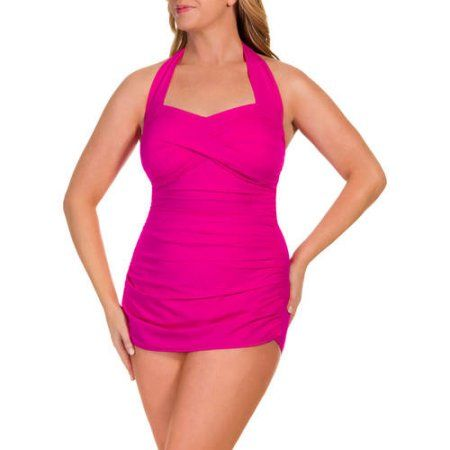 4828e3a58b8 Suddenly Slim by Catalina Women s Plus-Size Slimming Shirred Halter One-Piece  Swimsuit - Walmart.com