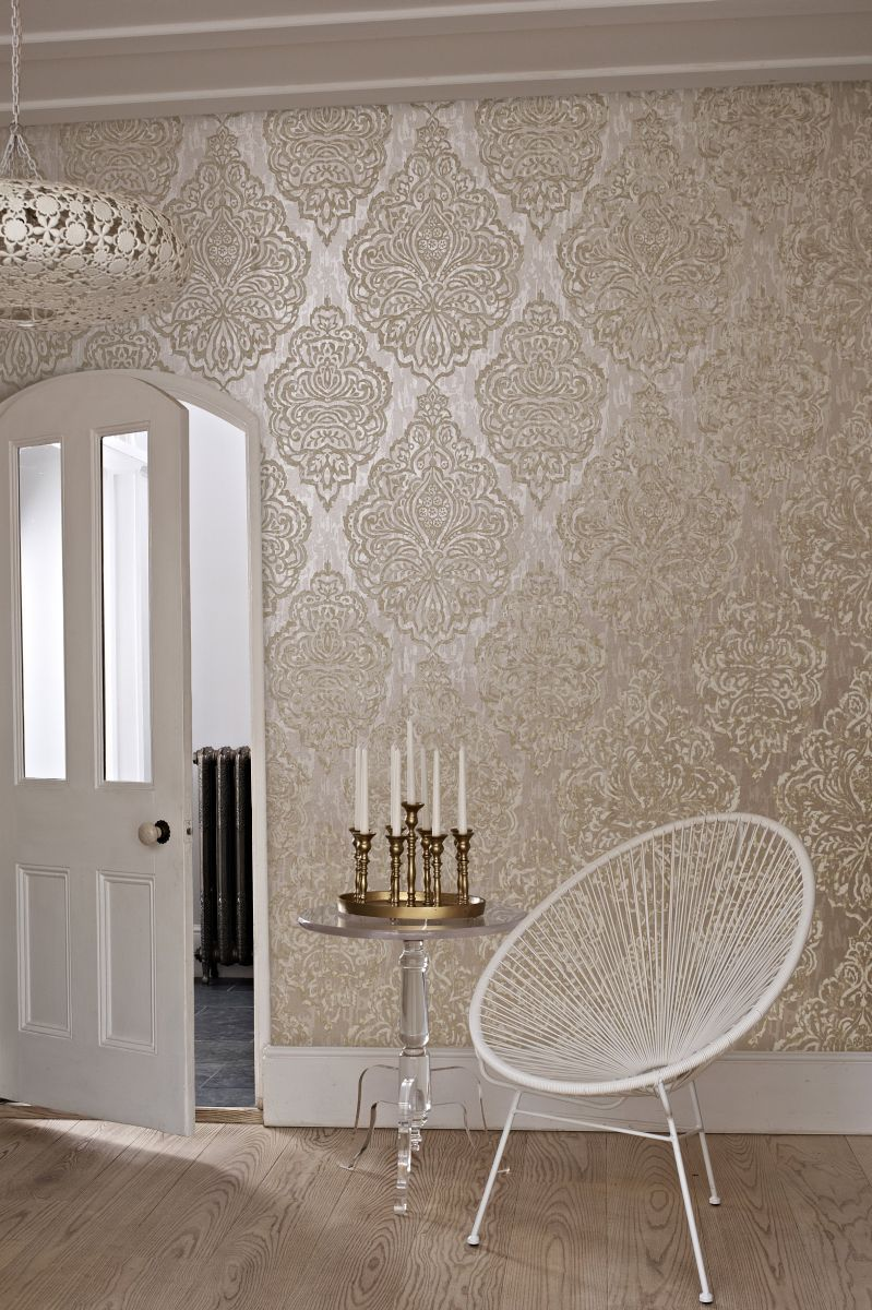 Gorgeous Large Scale Hand Printed Effect #damask #wallpaper Design By  Prestigious. Could Do