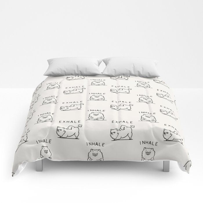 "Inhale Exhale Pomeranian Comforters by Huebucket - Queen: 88"" x 88"""