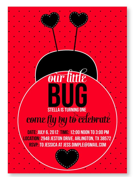 Ladybug Birthday Party PRINTABLE Invitation from by lovetheday
