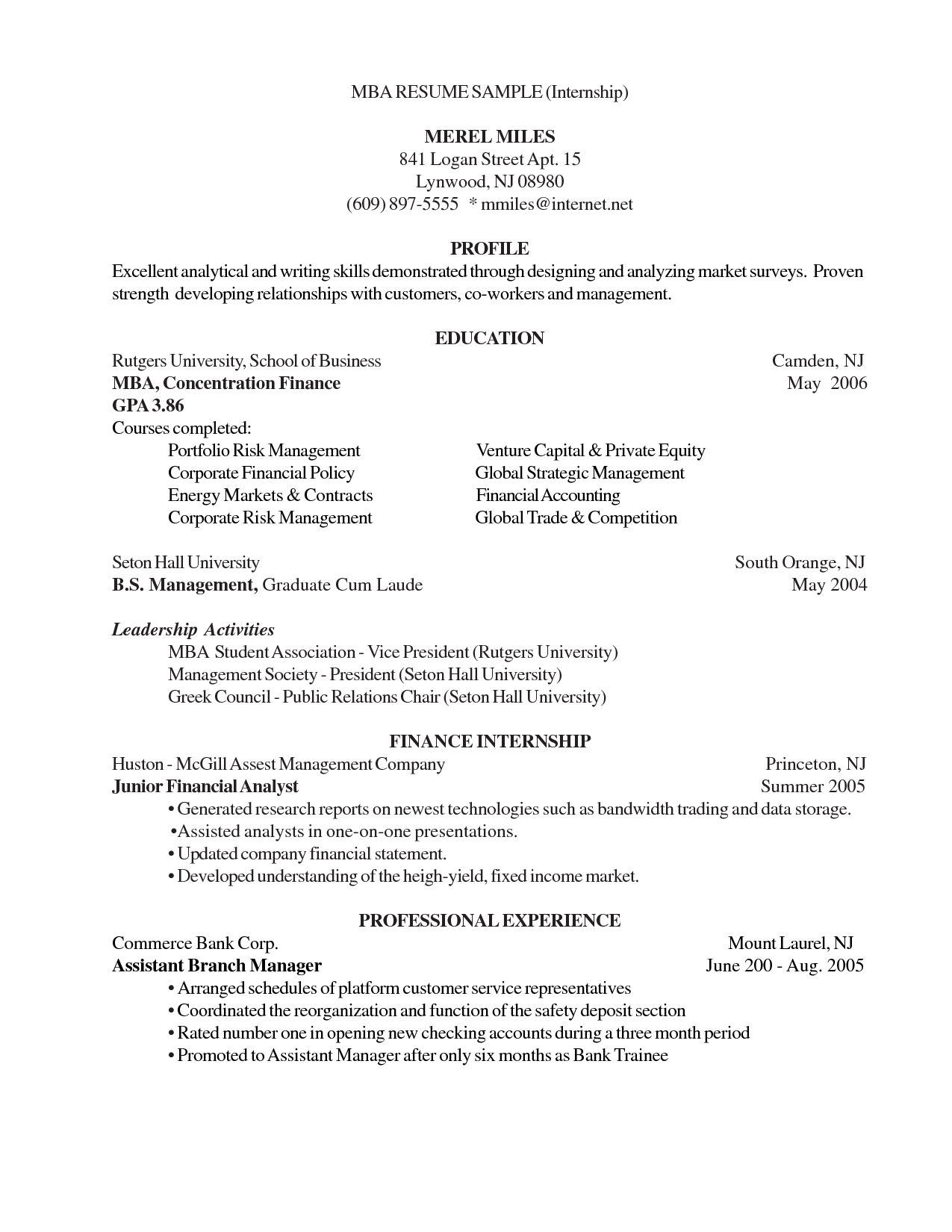 Princeton Resume Template Resume Sample Template Word Examples Resumes Responsibilities