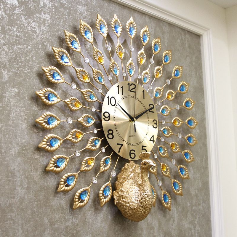 Exquisite Gold Peacock Shaped Decorative Wall Clocks Clock Wall Decor Wall Clock Clock