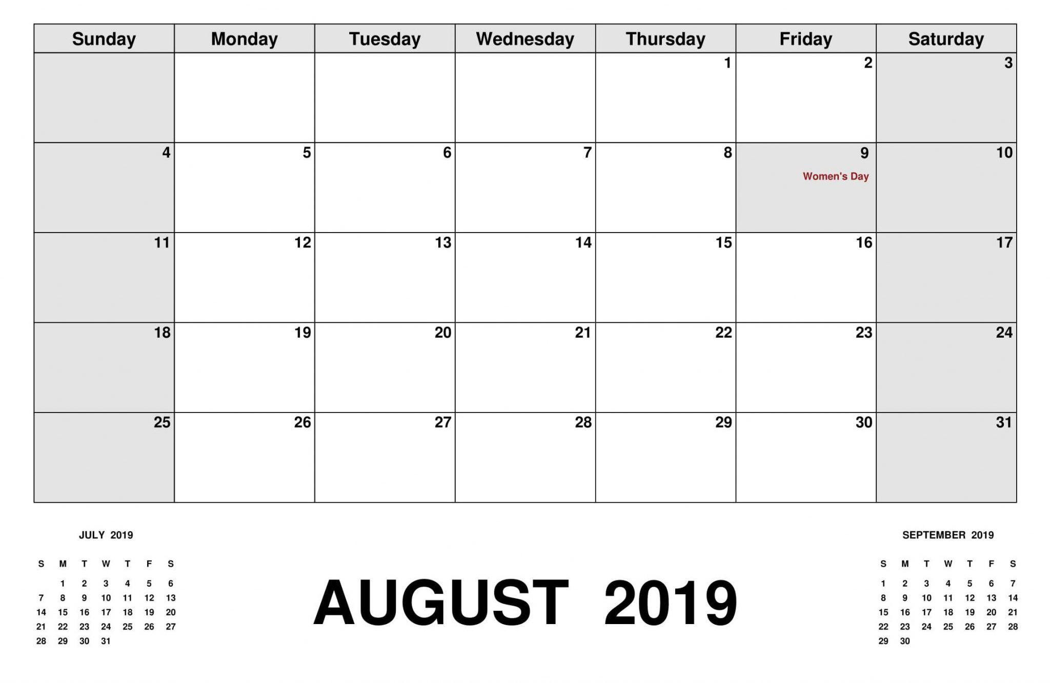 August 2019 Calendar South Africa 2019 Calendar Calendar