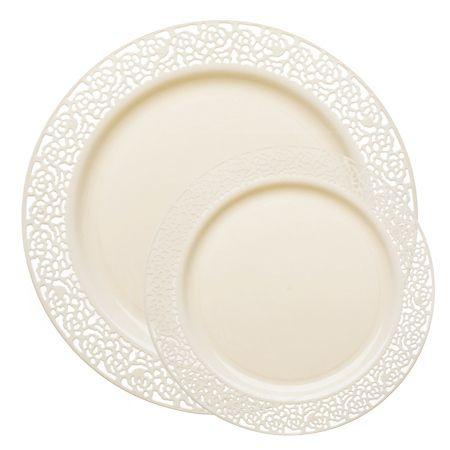1258 Lace Ivory Plastic Dinnerware Value Set Every Girls Dream
