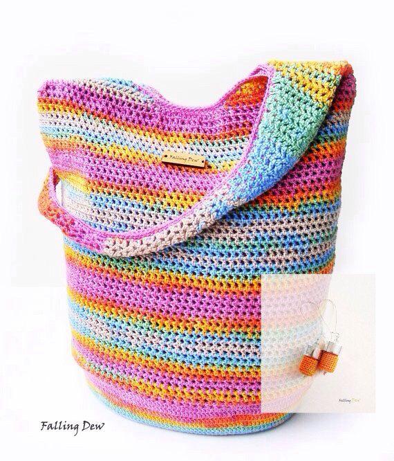 Crochet Handbag / FREE EARRINGS / Crochet Purse, Spring Handbag / Summer Bag, Pink Handbag, Cotton / Full Lining / Summer Fashion Handbag on Etsy, £41.00