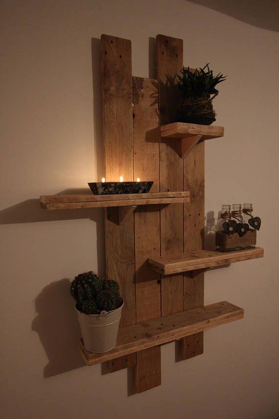 rustic hanging pallet shelf wall wood unit reclaimed on wall shelf id=79540