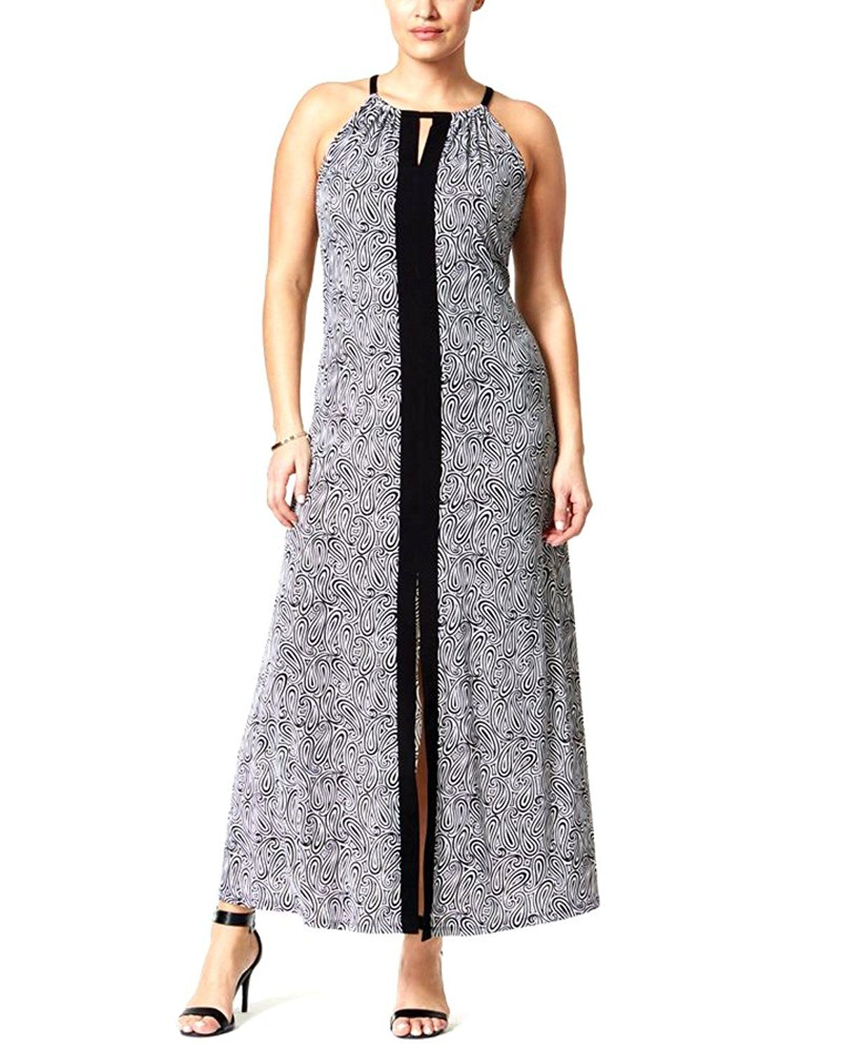 Michael Michael Kors Womens Plus Paisley Print Maxi Maxi Dress At