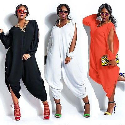 ae2f031a1e2 Fat Paragraph Plus Size Womens Sexy Loose O neck Chiffon Romper Baggy Harem  Jumpsuit Playsuit M 4XL Free Sipping-in Jumpsuits from Women s Clothing ...