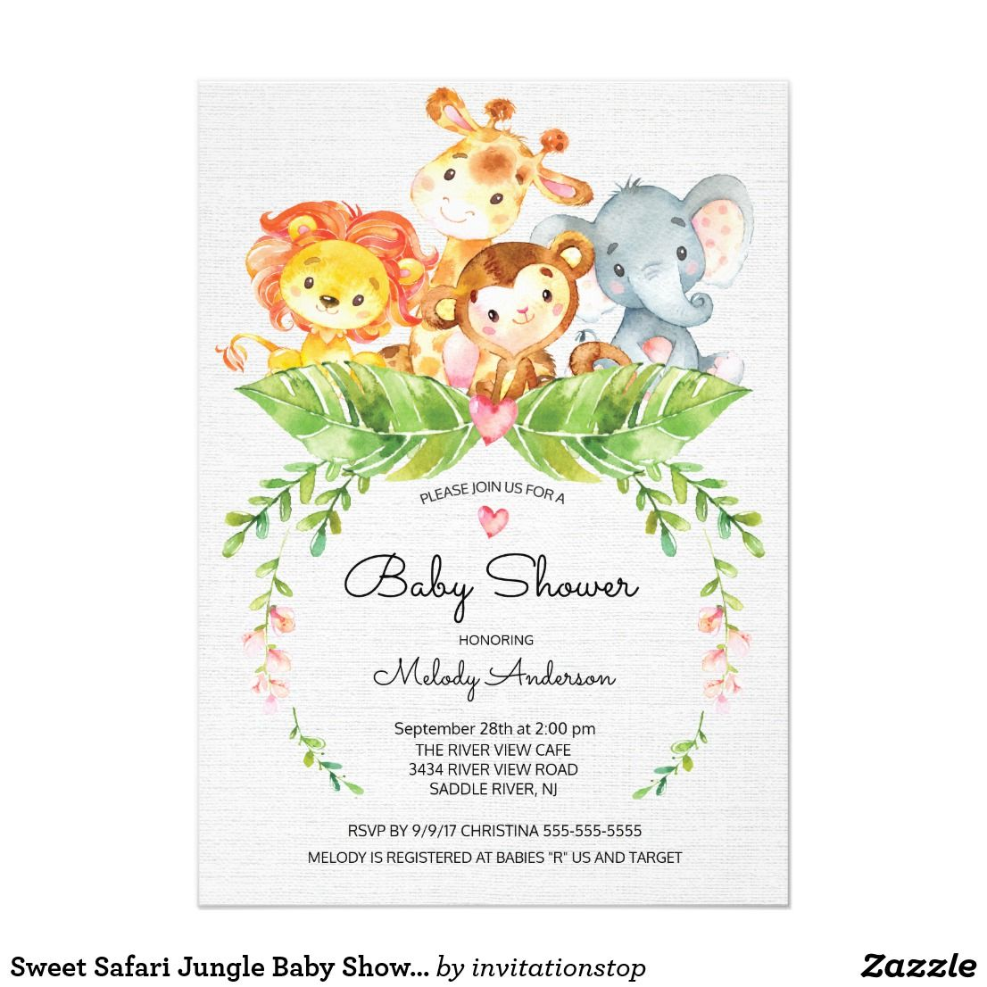Sweet Safari Jungle Baby Shower Invitation Cute Watercolor Jungle