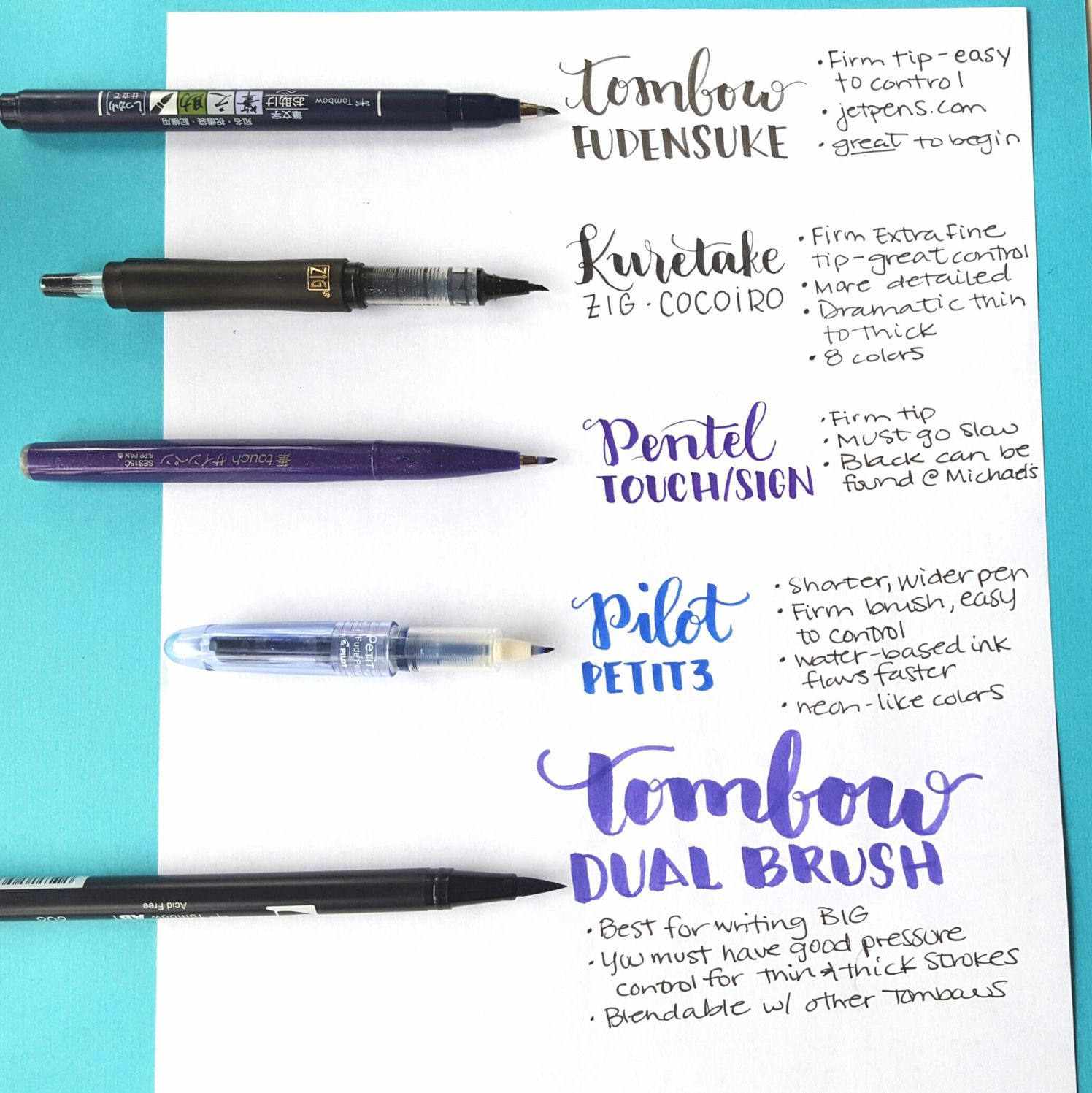 Great intro to hand lettering brush pens by jessica from
