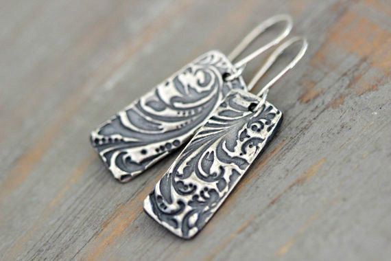 Sterling Silver Grecian Palm Fronds Embossed Dangle Earrings  // Botanical // Floral by MossyCreekStudio on Etsy https://www.etsy.com/listing/206781628/sterling-silver-grecian-palm-fronds