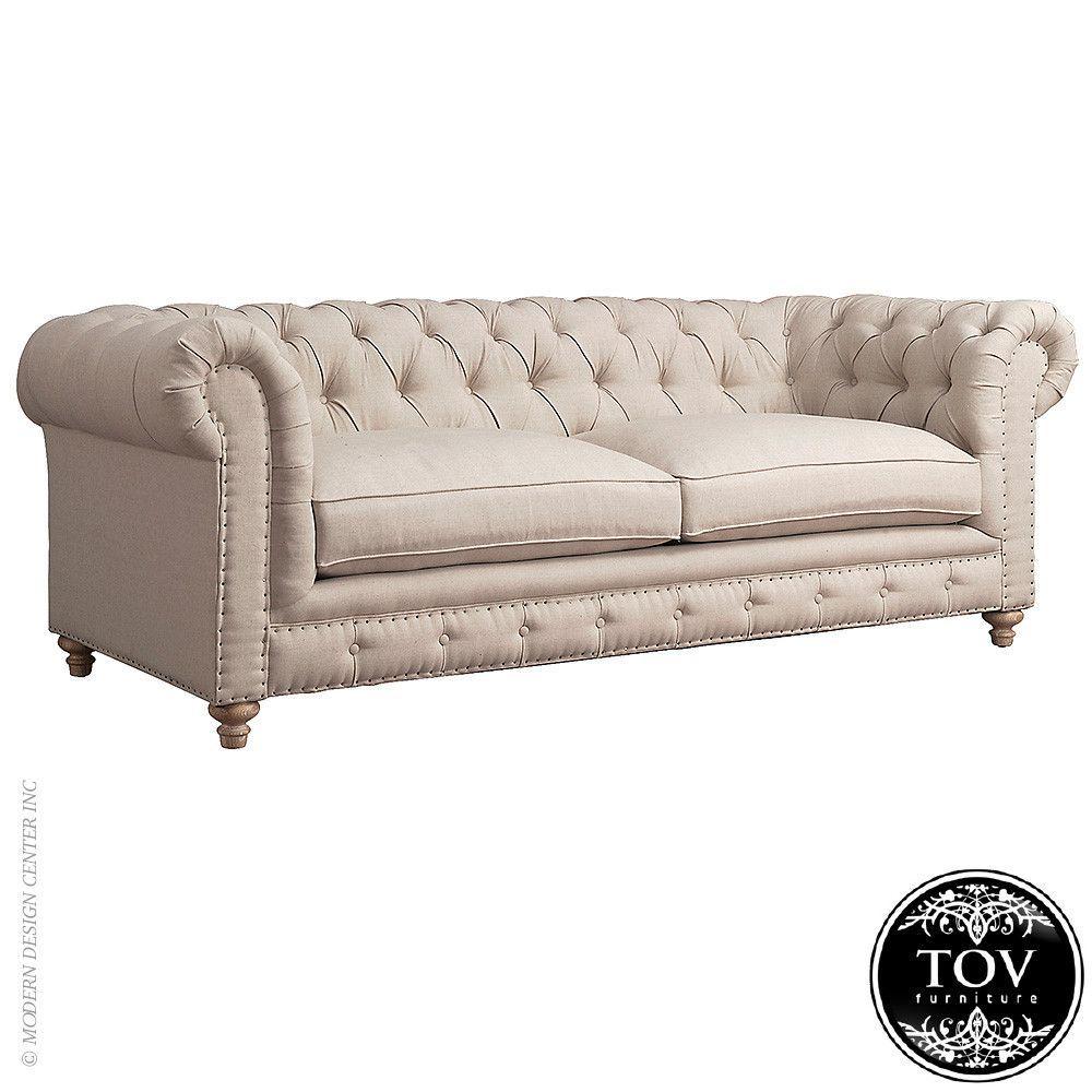 Tov Furniture Oxford Beige Linen Sofa