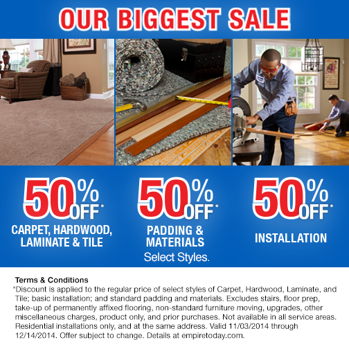 Empire S Biggest Sale Continues Get 50 Off Carpet Hardwood Laminate Tile 50 Off Padding Materials And 50 Instal Discount Tile Installation Laminate