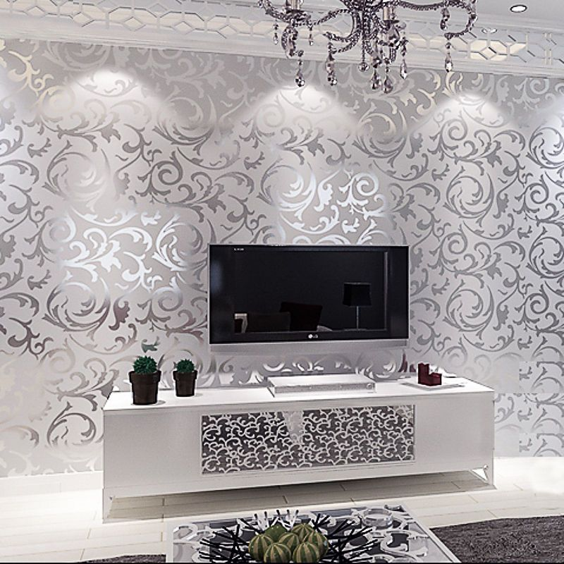 3d Victorian Metallic Luxury Silver Damask Glitter Wallpaper Roll Washable 10m Wallpaper Living Room Home Wallpaper Damask Wallpaper Bedroom