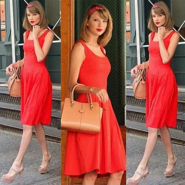 Combinacion de vestido rojo en