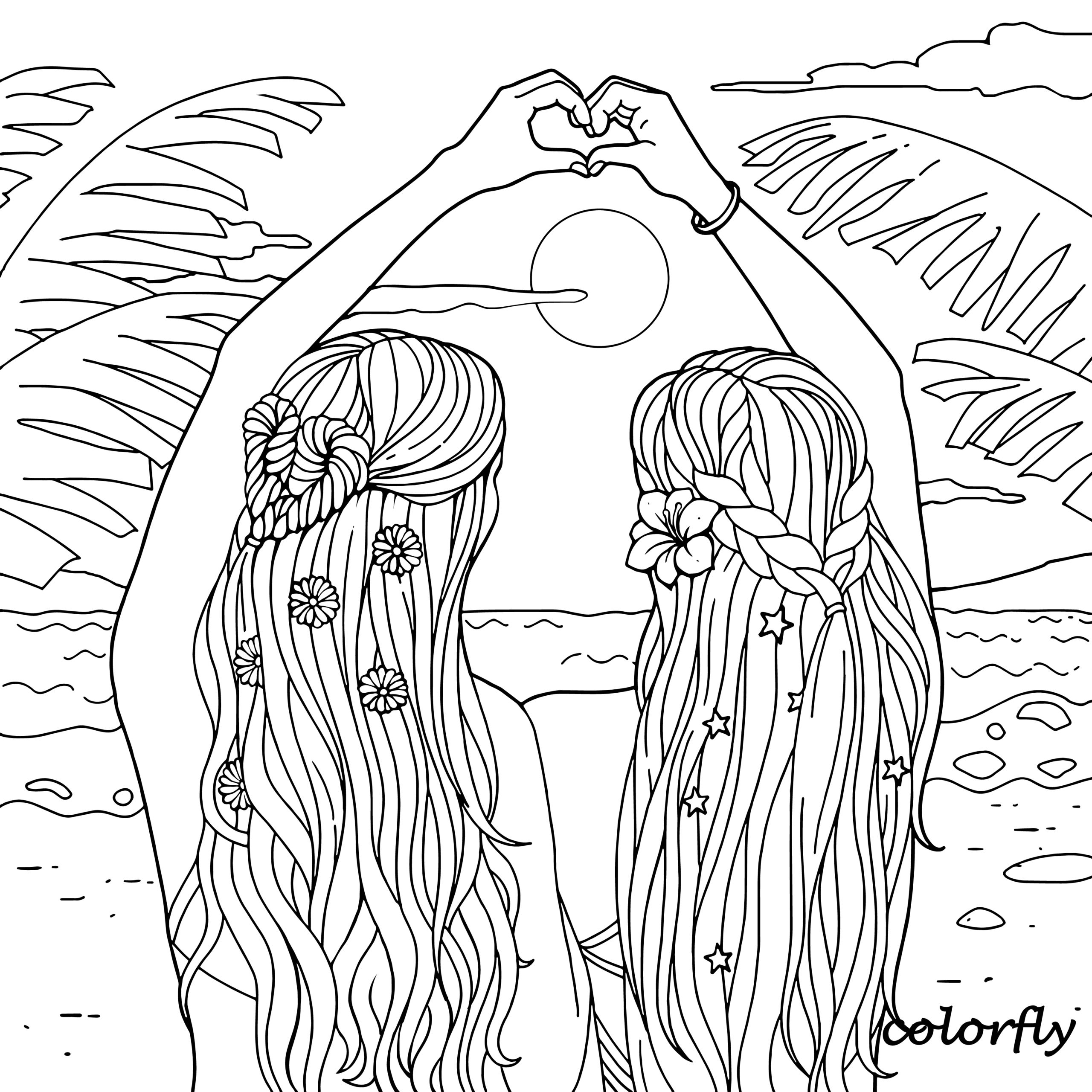 Best Friend Coloring Pages For Kids In 2020 Cute Coloring Pages Summer Coloring Pages Fairy Coloring Pages