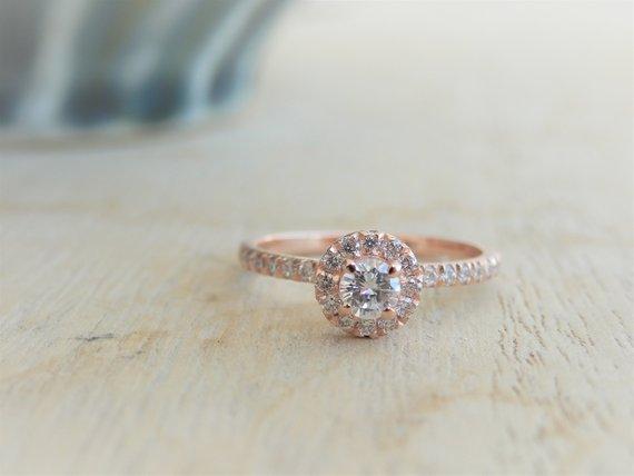 14k Rose Gold Engagement Ring Halo Engagement Ring Rose Gold Etsy Round Diamond Engagement Rings Halo Rose Gold Halo Engagement Ring Rose Engagement Ring