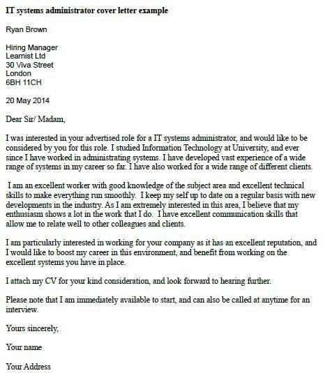 IT Systems Administrator Cover Letter Example Job Letter example