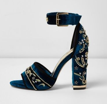 Step in style with the womens blue velvet embellished block heel sandalsblock