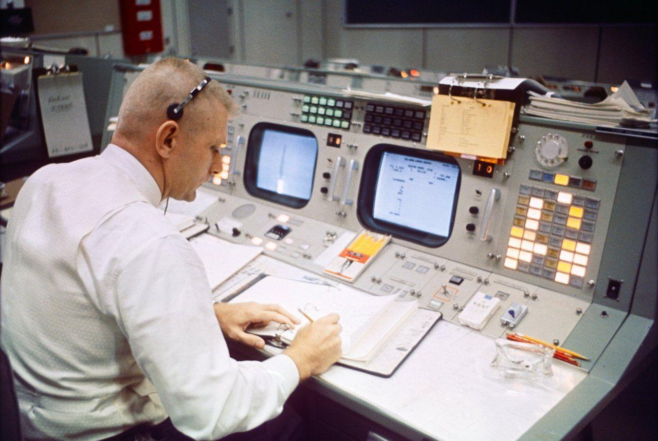 Eugene Gene F Kranz Flight Director At His Console In