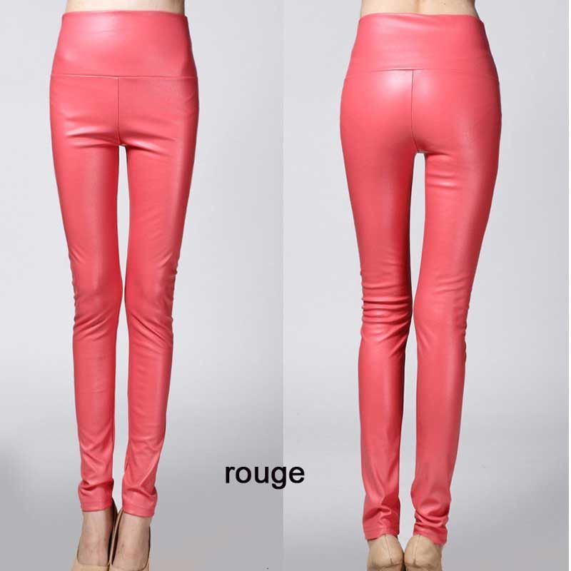 891d38e868d Women legging skinny PU leather pencil Leggings slim faux Leather Pants  female fashion thick fleece trousers