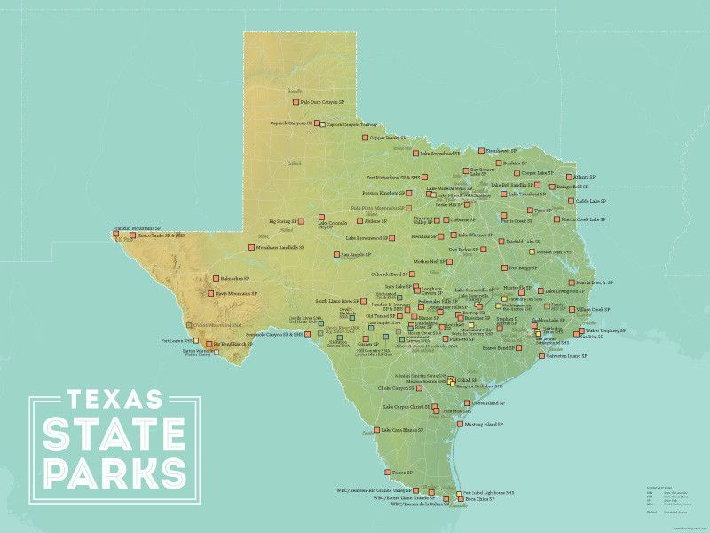 Map Of State Parks In Texas Texas State Parks Map 18x24 Poster | Texas state parks, State