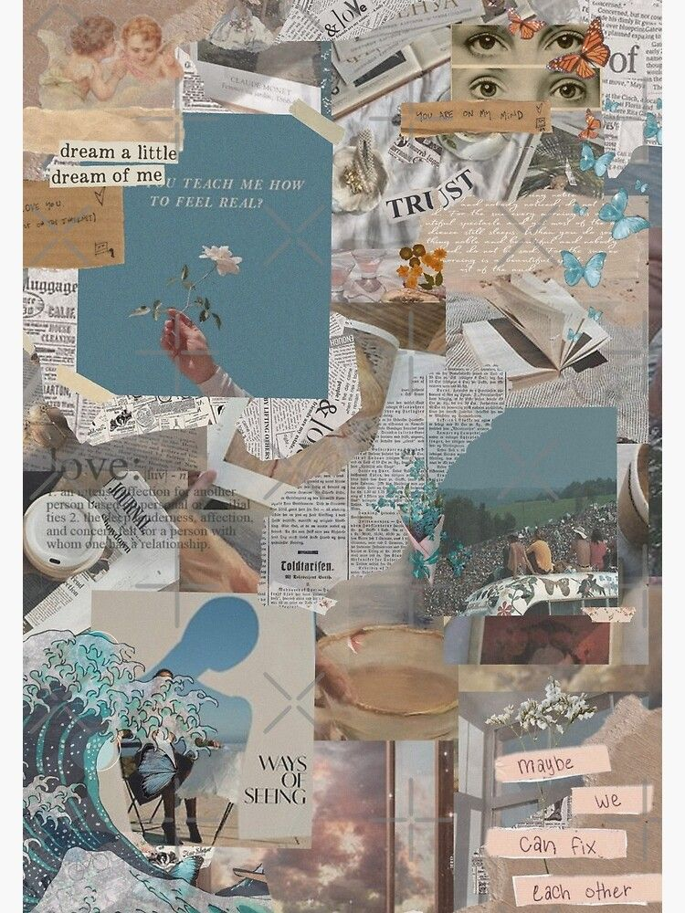 soft light blue aesthetic collage Poster