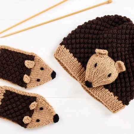 Child's Hedgehog Hat and Mittens | Baby hat knitting ...