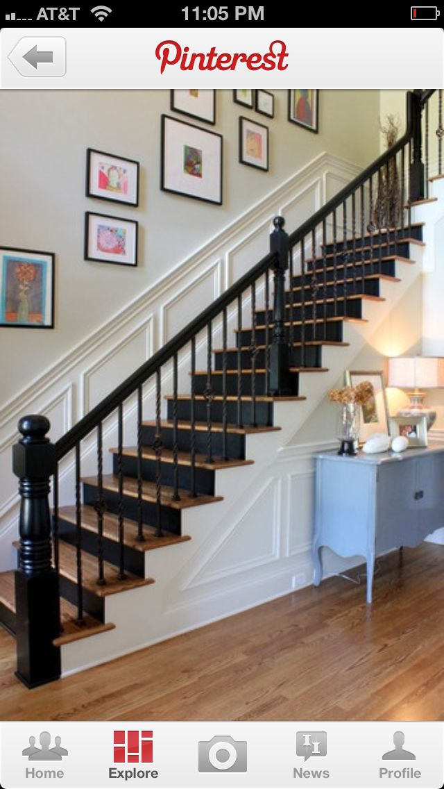 Since Remodeling Our Foyer This Would B A Great Change Up To Our Original  White Stairs In
