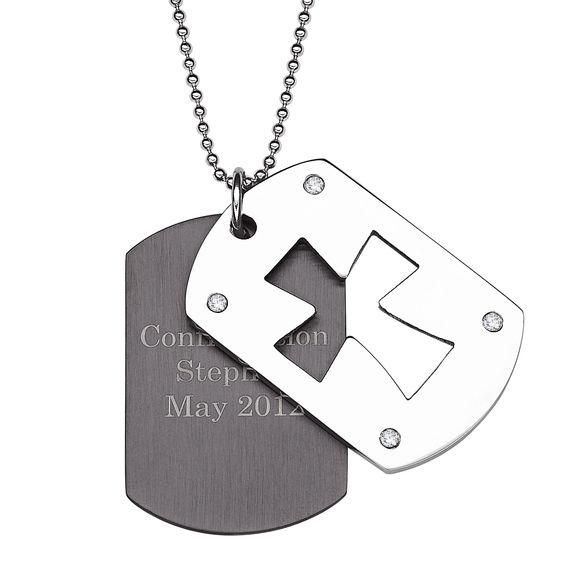 Zales Dog Tag and Cross Pendant in Two-Tone Stainless Steel (4 Lines) - 20