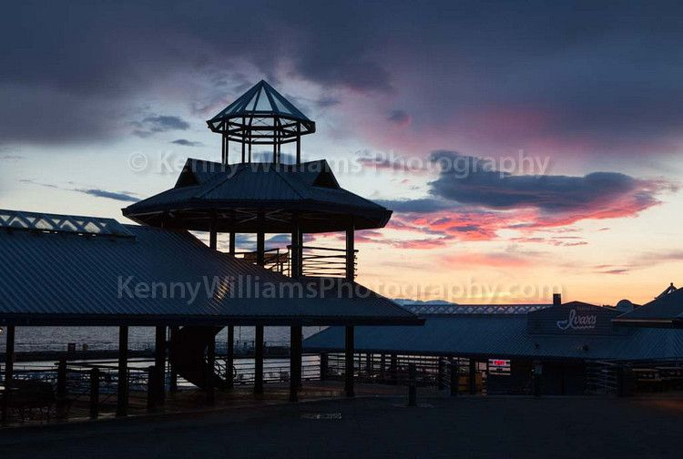 Picnic gallery belvedere and restaurant pavilion at sunset