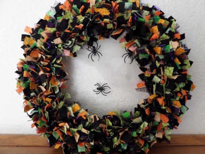 12 inch Halloween Rag Wreath #HAFshop #HAS #handmade