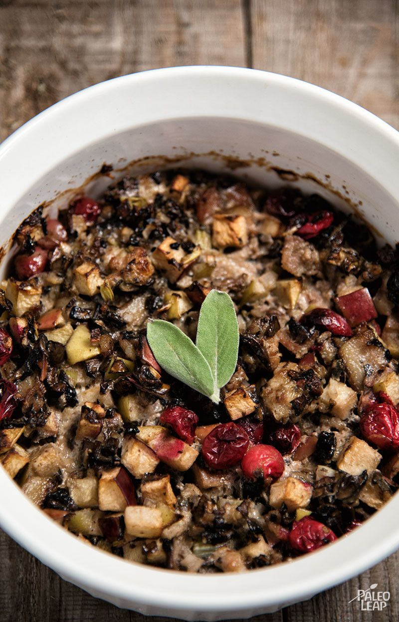 Sausage, Cranberry and Apple Stuffing - A protein-rich stuffing that you can eat on its own or stuff inside a Thanksgiving bird, squash, pumpkin, bell pepper, or anything else. (Paleo, Gluten Free)