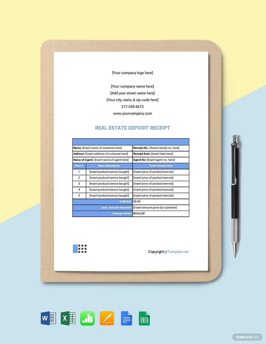 Free Simple Real Estate Receipt Word Excel Google Docs Apple Mac Pages Google Sheets Apple Mac Numbers Receipt Template Google Sheets Templates