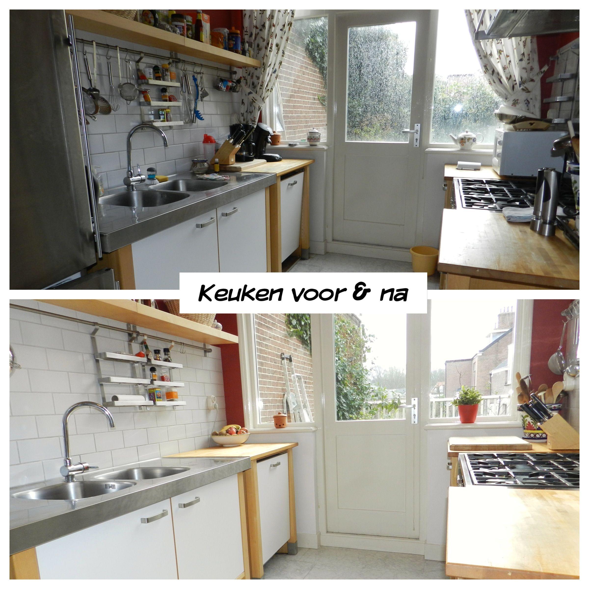 Rommelige keuken, toont klein en onoverzichtelijk. Gordijnen ...