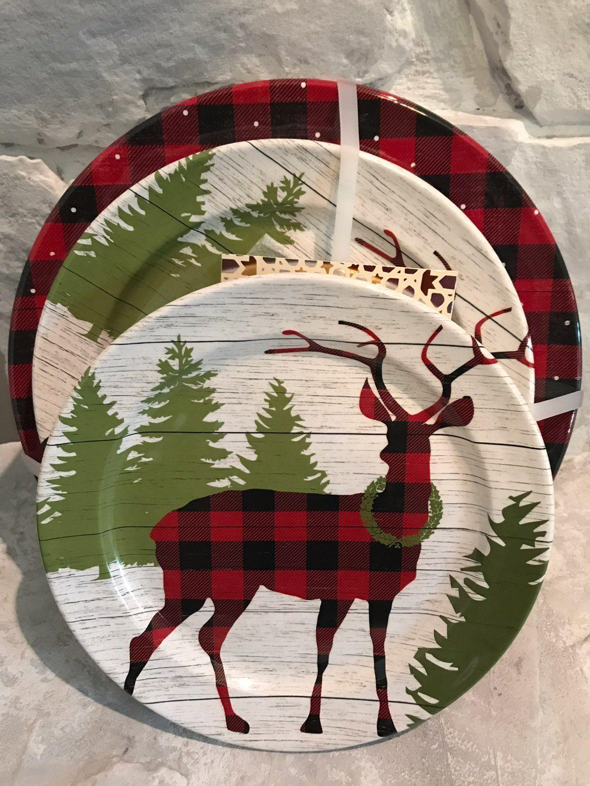 Melamine Christmas Platters.Cynthia Rowley Melamine Christmas Plates Holiday Seasonal