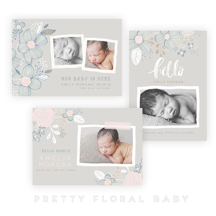 Pretty Floral Baby 5x7 WHCC Cards by Oh Snap Boutique on @creativemarket