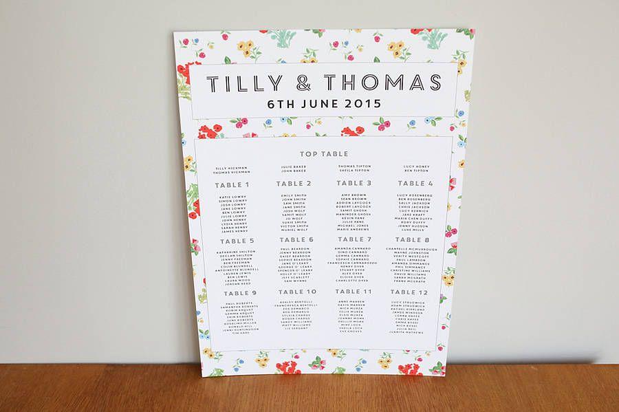 Ditsy Design Wedding Seating Plan
