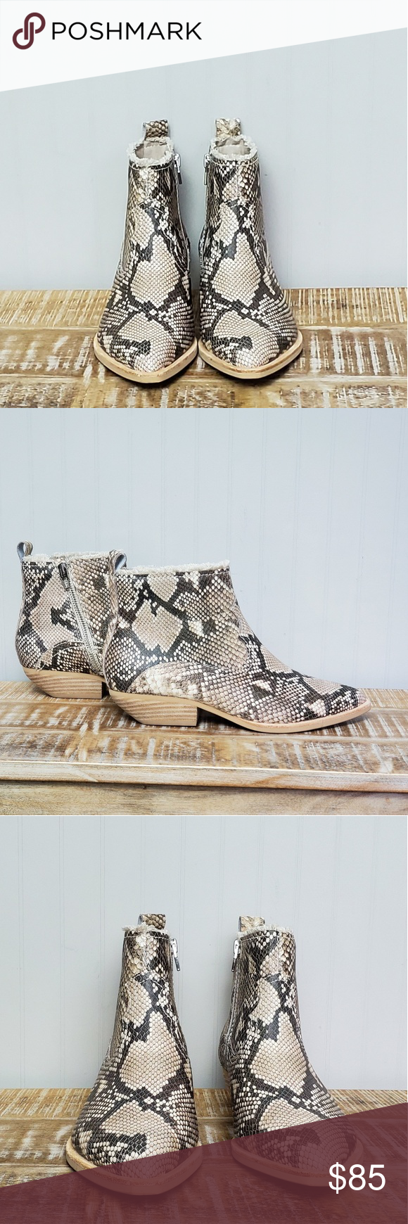 Dolce Vita NWOT Snake print boots with silver zipper on the inside. Beautiful statement she to add excitement to a simple outfit. Dolce Vita Shoes Ankle Boots & Booties #snakeprintbootsoutfit