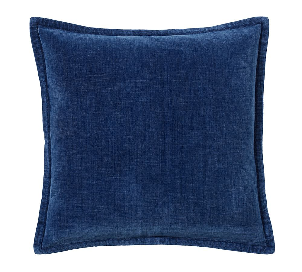 Solid Dark Blue Pillow Covers Cotton